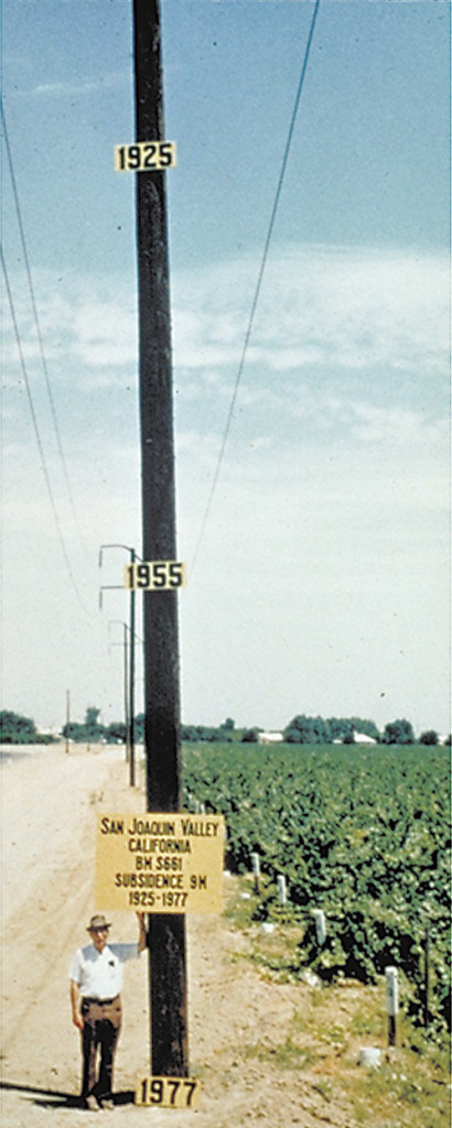 Joseph Poland of the U.S. Geological Survey used a utility pole to document where a farmer would have been standing in 1925, 1955 and where Poland was then standing in 1977 after land in the San Joaquin Valley had sunk nearly 30 feet. Credit: U.S. Geological Survey