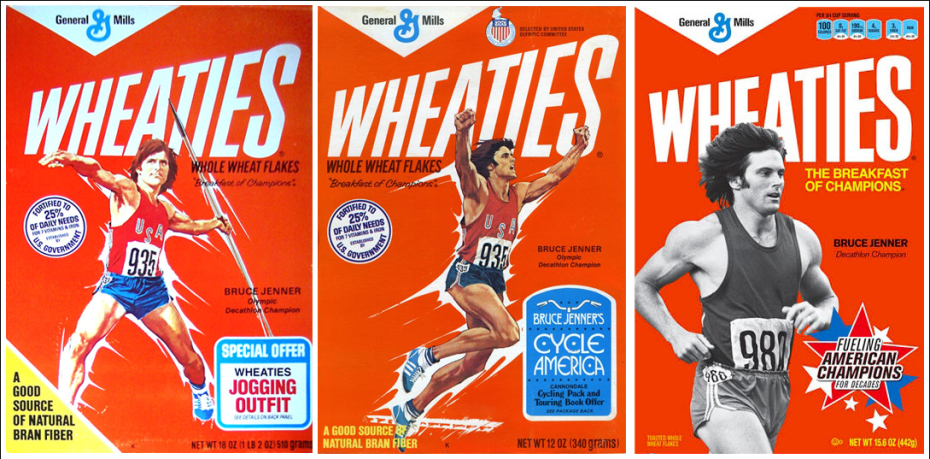In the mid-1970s, Jenner was a fixture on America's breakfast tables, as an athlete spokesperson for the cereal brand Wheaties.