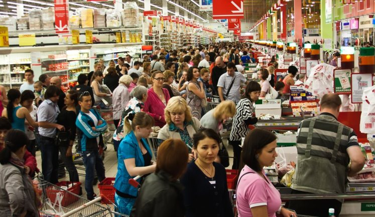 Image result for long checkout line
