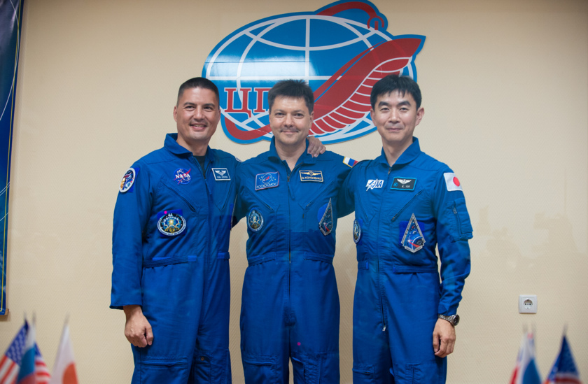 Expedition 44 crew. From left: Kjell Lindgren, NASA; Oleg Kononenko, Roscosmos; Kimiya Yui, JAXA.