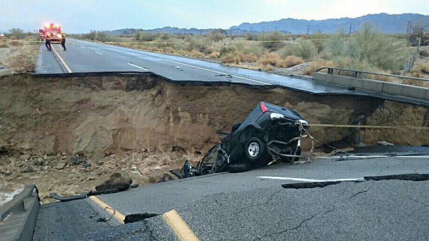 A bridge collapsed Sunday at the eastbound Interstate 10 and Eagle Mountain Road in Desert Center, trapping a truck beneath the debris. (KMIR)