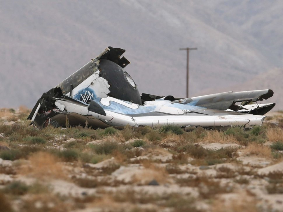 SpaceShipTwo's wreckage in the Mojave desert, shortly after the 2014 crash. [Reuters]