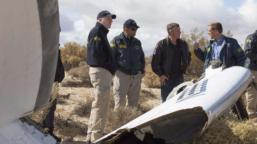 The National Transportation Safety Board's acting chairman, Christopher Hart, second from left, visits the scene of the SpaceShipTwo crash with pilot Todd Ericson, second from right, and NTSB investigators near Cantil, Calif., on Nov. 1, 2014. (NTSB)