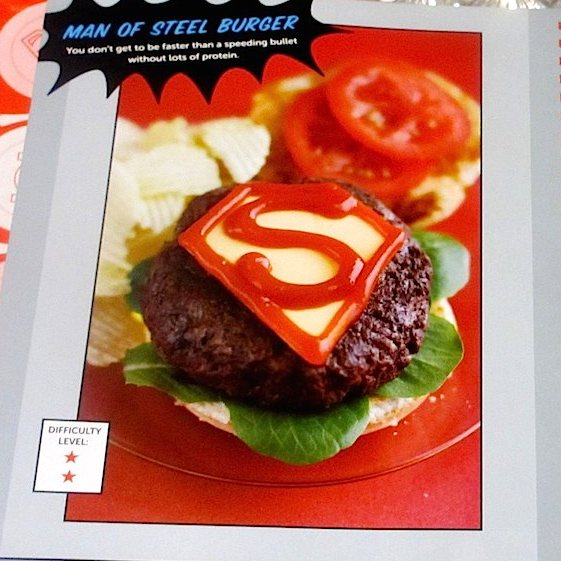 How to make a man of steel burger and other superhero recipes fans of dc comics greats like batman superman wonder woman and the flash will love this superhero recipe book full of more than 50 fun snacks meals forumfinder Image collections