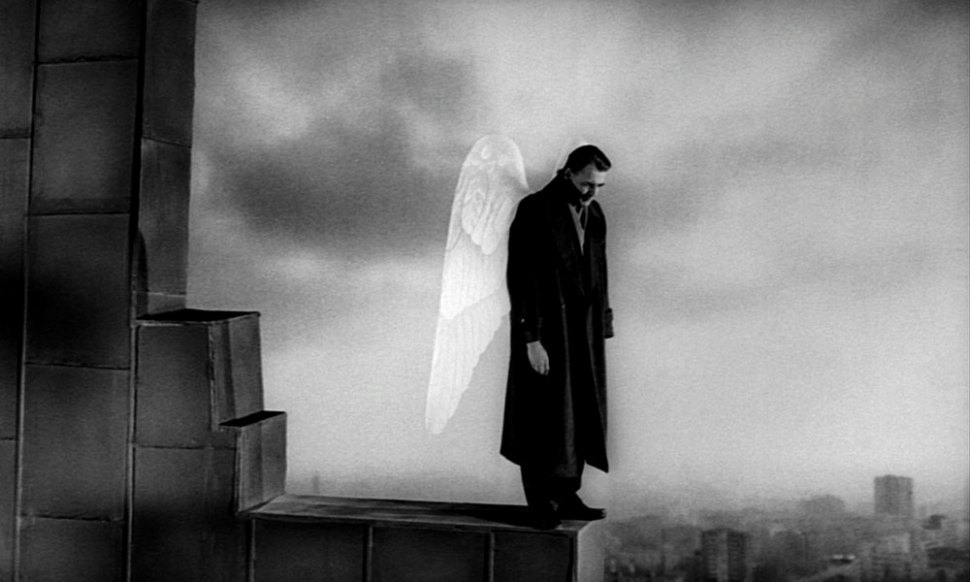 Bruno Ganz as Damiel in Wings of Desire