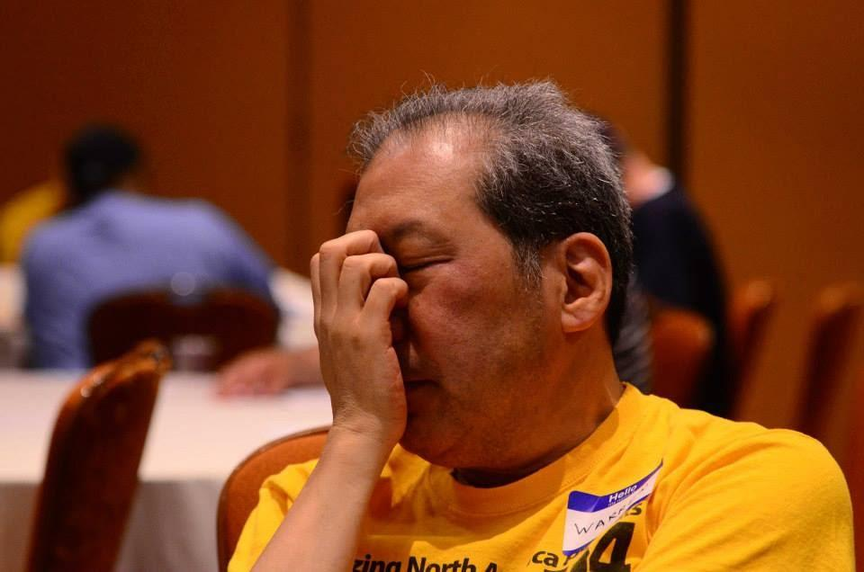 Warren Usui wracks his brain for an answer.  Photo courtesy of Dan Avila.
