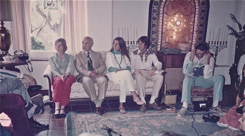 Living room scene. From Left:  Cynthia Palmer, Albert Hofmann, Joan Halifax
