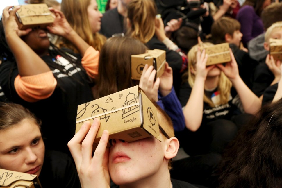 "Students used Google Cardboard virtual reality viewers to ""tour"" Canada's Parliament at an event in January, 2015. Photo: Reuters"