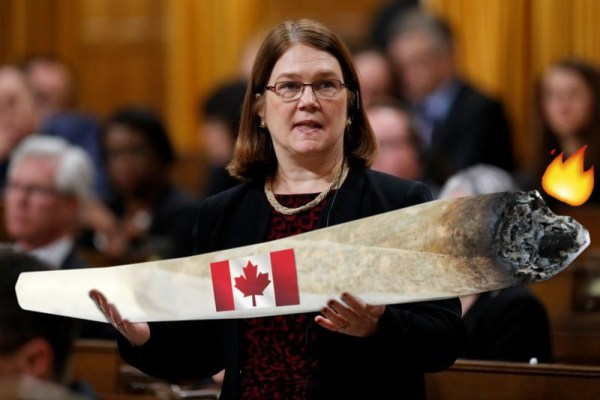 "Canada""s Health Minister Jane Philpott holding a massive joint. REUTERS/shoop by Xeni"