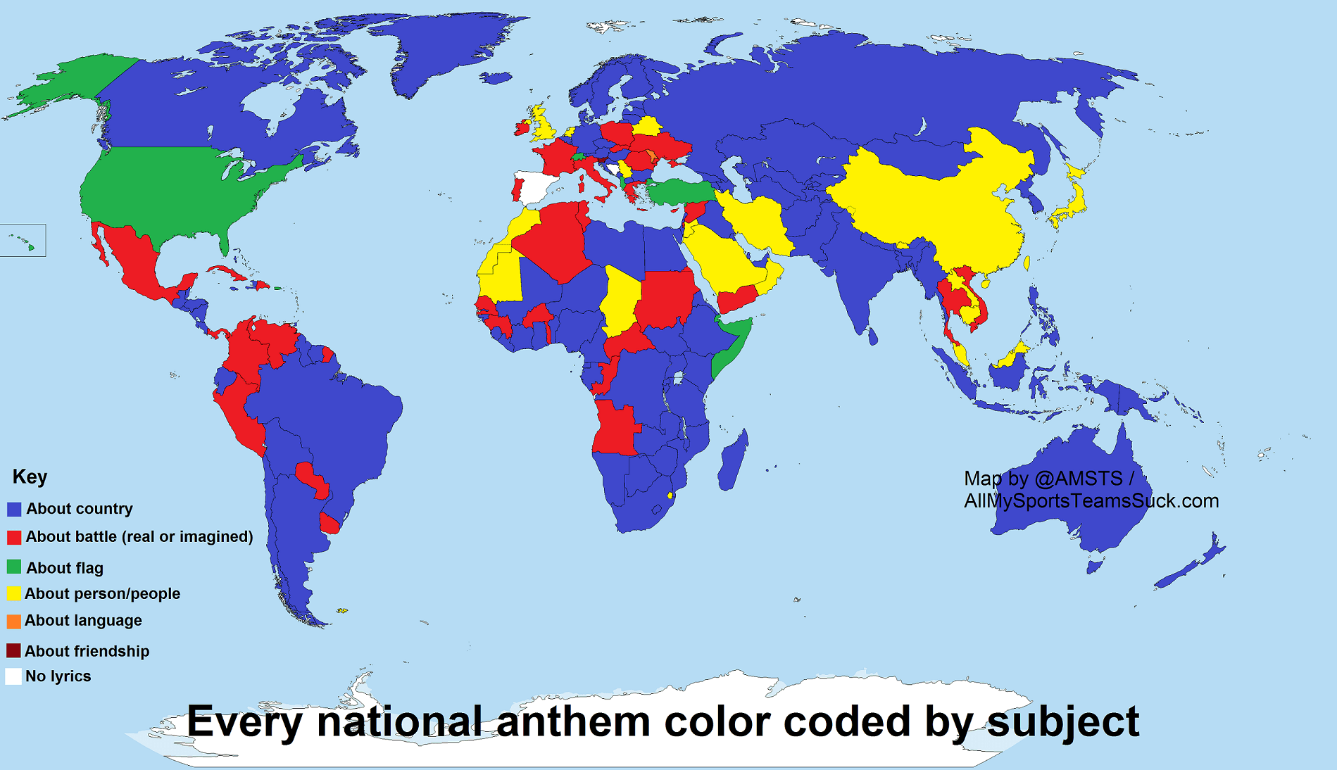 National Anthems Coded By Subject Matter Boing Boing
