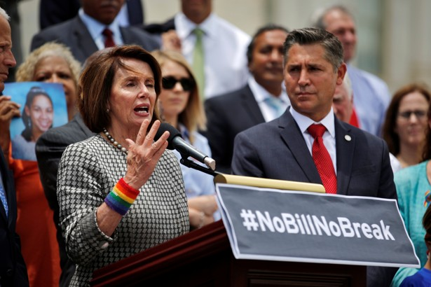 U.S. House Minority Leader Nancy Pelosi (D-CA) holds a news conference with the House Democratic Caucus to call on House Speaker Paul Ryan to allow a vote on gun violence prevention legislation in Capitol Hill, Washington, U.S., June 22, 2016. REUTERS/Carlos Barria