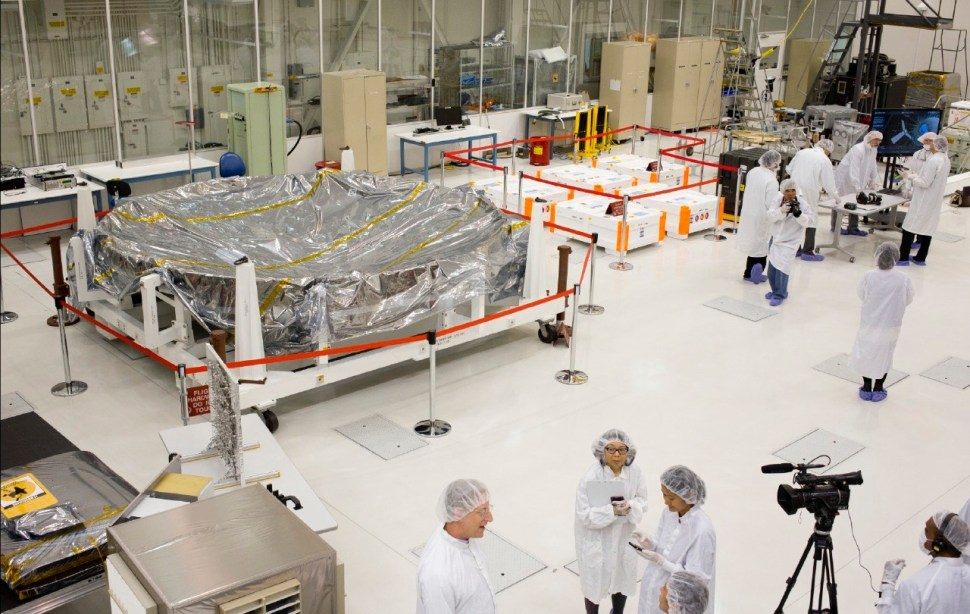 JPL cleanroom, with a space blanket that's going to Mars. Photo: Katherine Leipper.