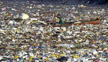 Floating garbage patches largely comprised of trash dumped off ships