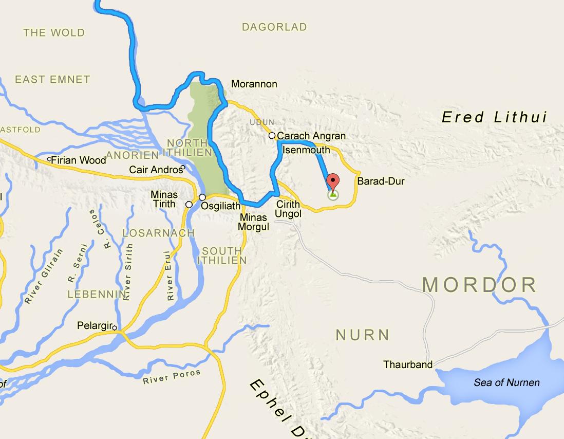 Frodo's trip to Mordor as a Google Map  Boing Boing