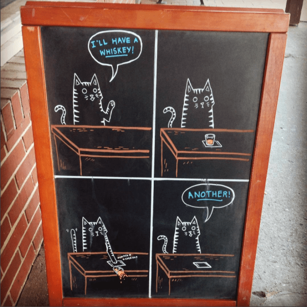 11 - I found this Oatmeal comic and thought it was perfect for a bar owned by cat lovers