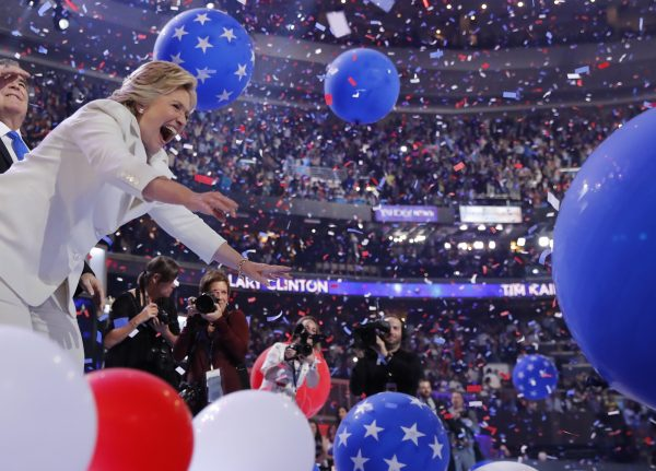 Democratic presidential nominee Hillary Clinton celebrates among balloons after she accepted the nomination on the fourth and final night at the Democratic National Convention in Philadelphia