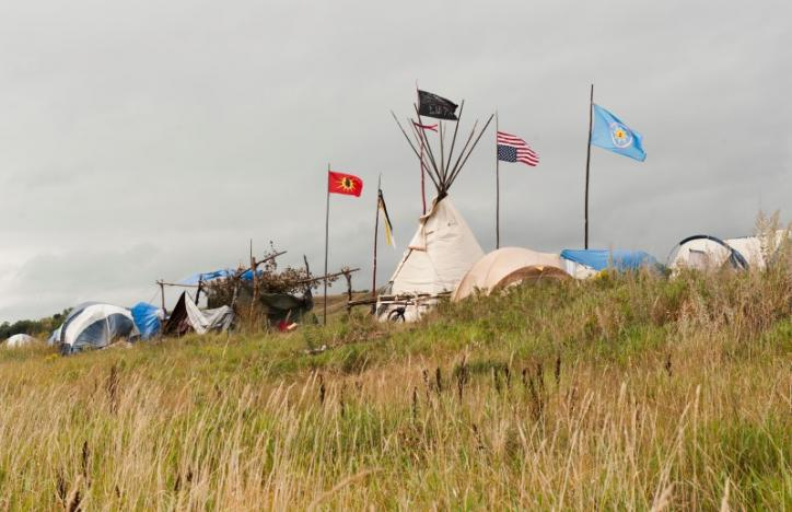 Tepees stand in the Seven Council camp, one of three encampments that have grown on the banks of the Cannon Ball River over the last month. REUTERS/Andrew Cullen
