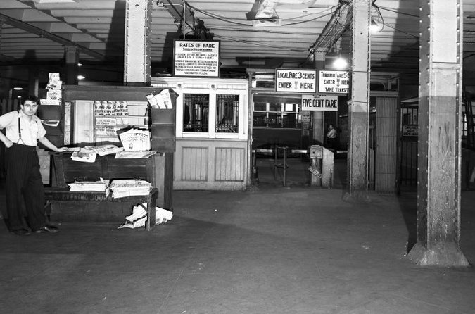 """Via the NYT: """"The park would resurrect part of the Williamsburg Bridge railway terminal, which served as a hub for trolley cars for more than four decades before it closed in 1948."""" Image: The New York Transit Museum"""