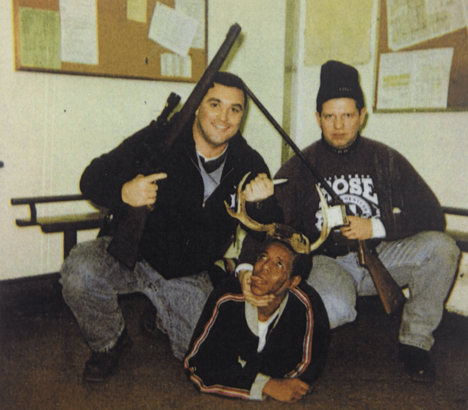 Timothy McDermott (R) and Jerome Finnigan (L) of the Chicago Police Dept., with a man identified as a drug suspect circa 1999-2003.