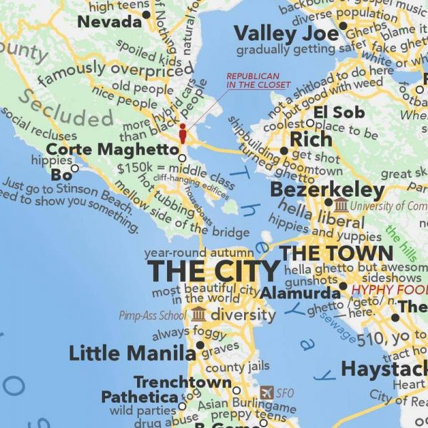 San Francisco Bay Area map according to Urban Dictionary  Boing Boing