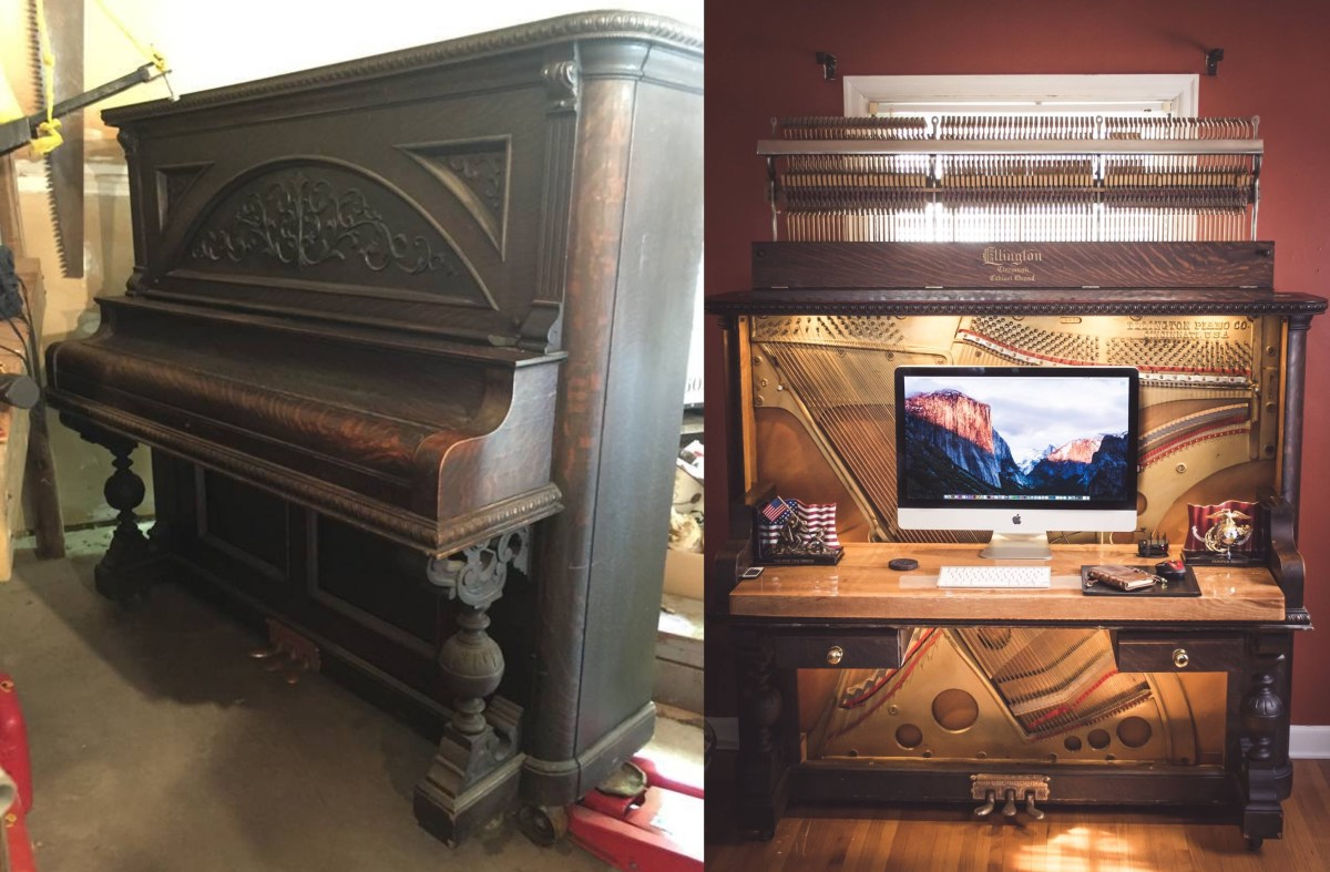 1907 Upright Piano Transformed Into Gorgeous Desk Boing