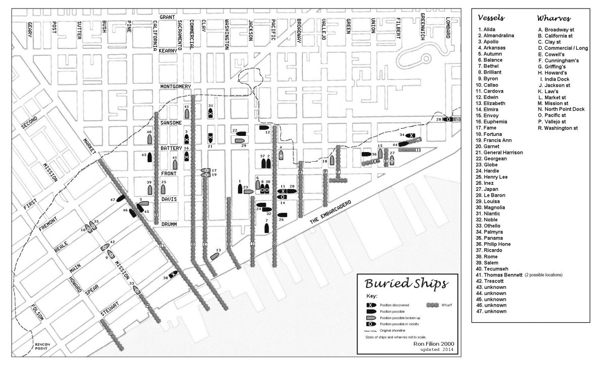 A map of ships buried under San Francisco Financial District