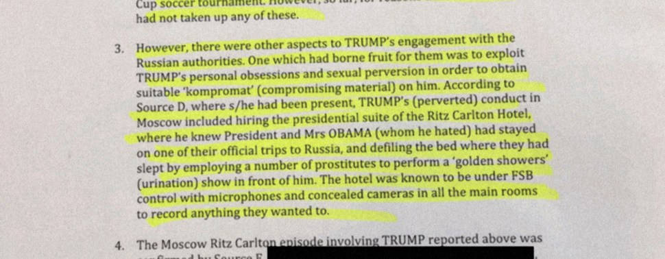 bombshell report claims trump paid to watch hookers piss on bed the dossier which is a collection of memos written over a period of months includes specific unverified and potentially unverifiable allegations of