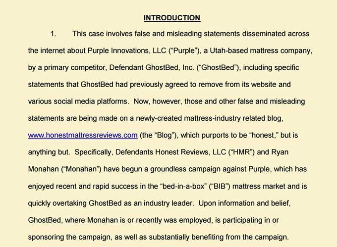 Purple Mattress Sues Reviewer For Making Quot False And