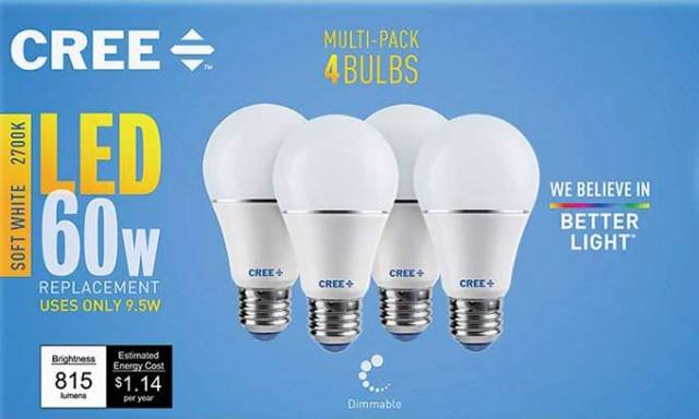 Dimmable LED light bulbs - $(removed) for 4