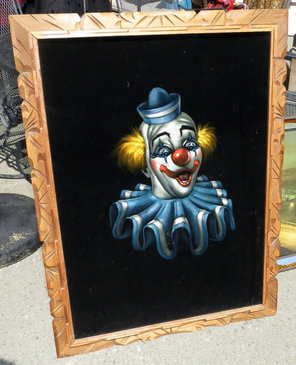 Clown black velvet painting, photo by Rusty Blazenhoff