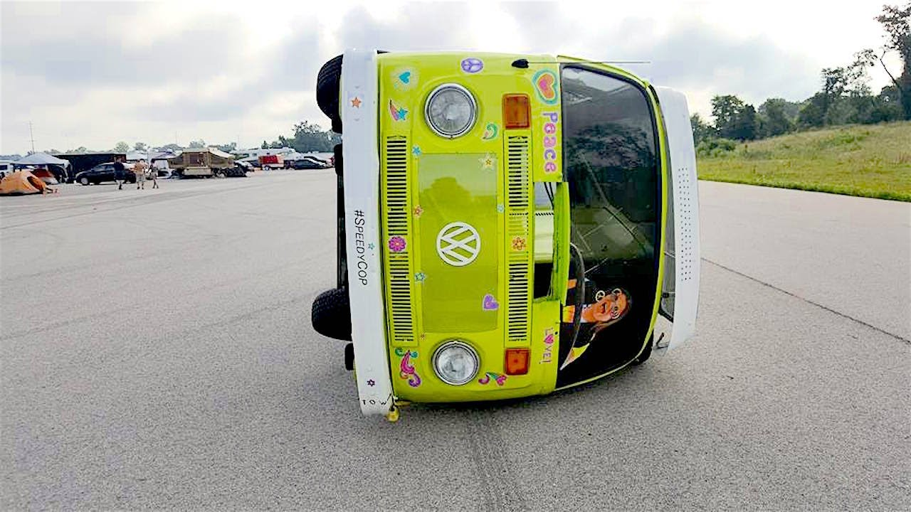 Nope this circa 1976 VW c&er van hasnu0027t just been tipped over. It was built this way. This is the Trippy Tippy Hippy Van and itu0027s the latest crazy race ... & A Volkswagen microbus tent for camping or just hanging out ...