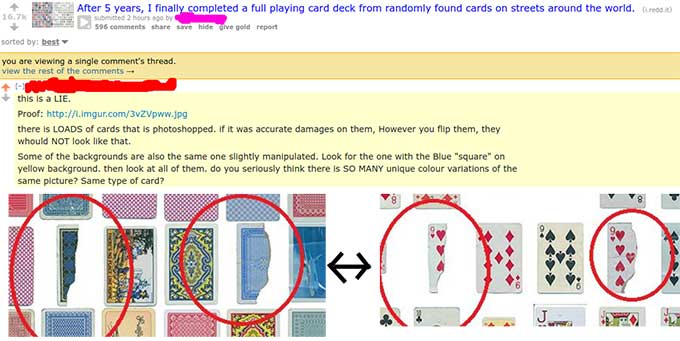 "gentleman shows off his deck of ""found"" playing cards, reddit ..."