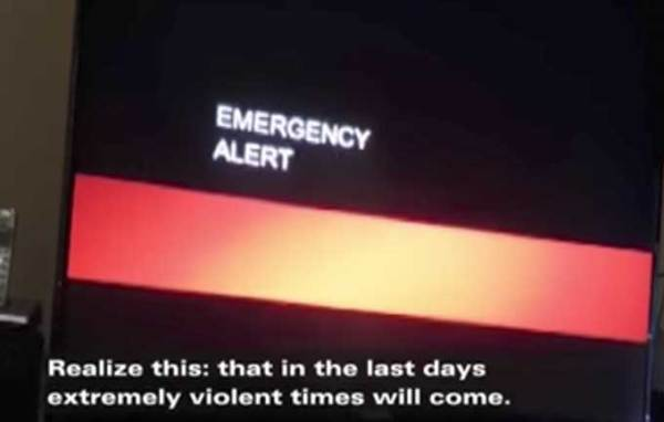 Emergency broadcast alert warns TV viewers that the world is going to end on Saturday