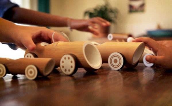 Eco-friendly bamboo toy cars and planes