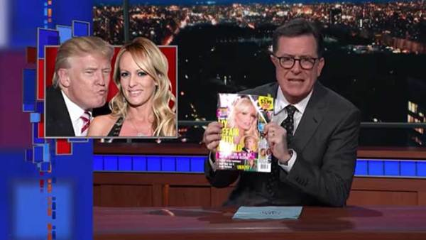 Colbert reads porn star Stormy Daniels sex affair with Trump