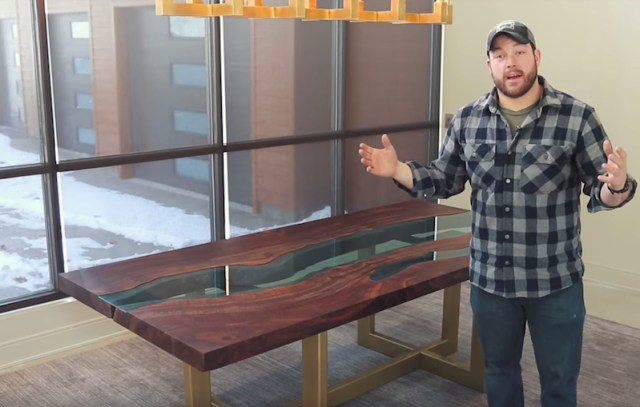 "Watch how to make a wood table with a ""river"" of glass flowing through"