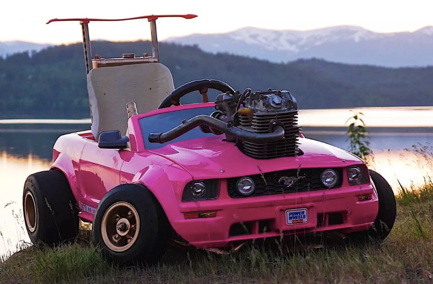 Barbie ride-on toy car modded with real engine goes 70 mph ...