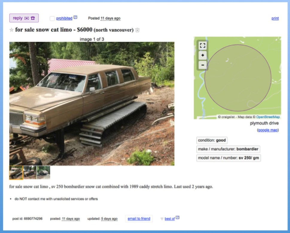 Homebrew Cadillac Limo Snowcat For Sale Boing Boing