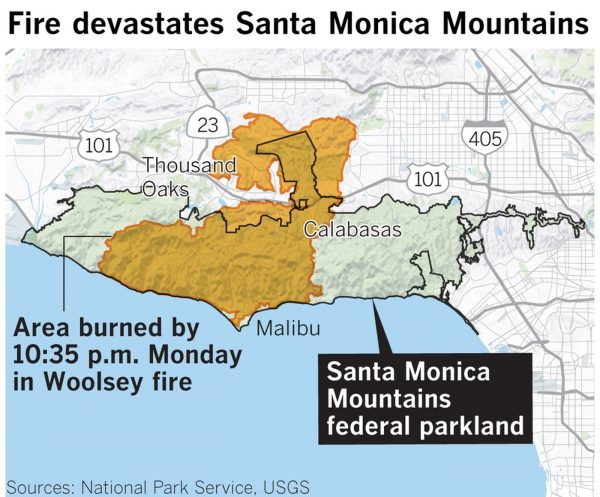 California Fires: 83% of Santa Monica Mountains federal parkland burned by Woolsey Fire