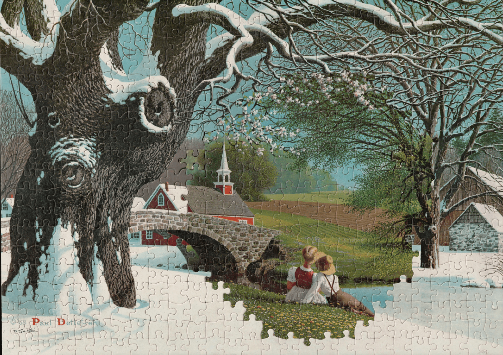 This artist uses jigsaw puzzles, with the same die cut