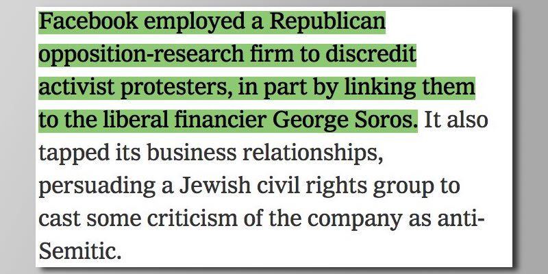 Facebook hired GOP oppo firm to smear protesters by linking them to George Soros, an anti-Semitic trope: NYT