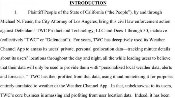 LAWSUIT: Los Angeles accuses Weather Channel app of secretly