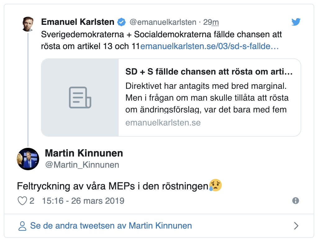 Article 13 will wreck the internet because Swedish MEPs accidentally pushed the wrong voting button