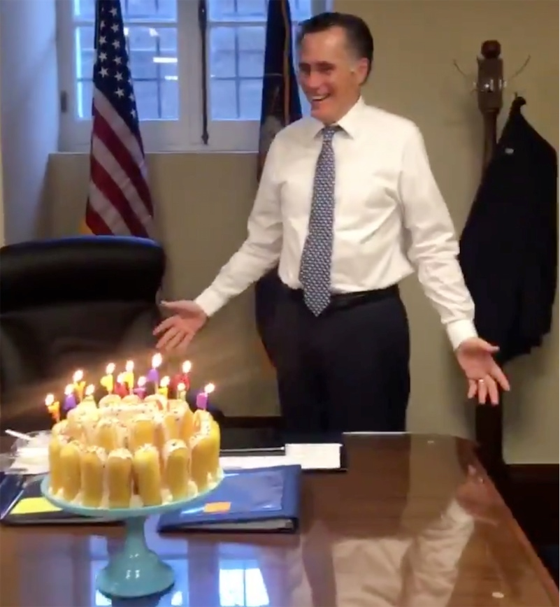 Watch The Weird Way Mitt Romney Blows Out The Birthday