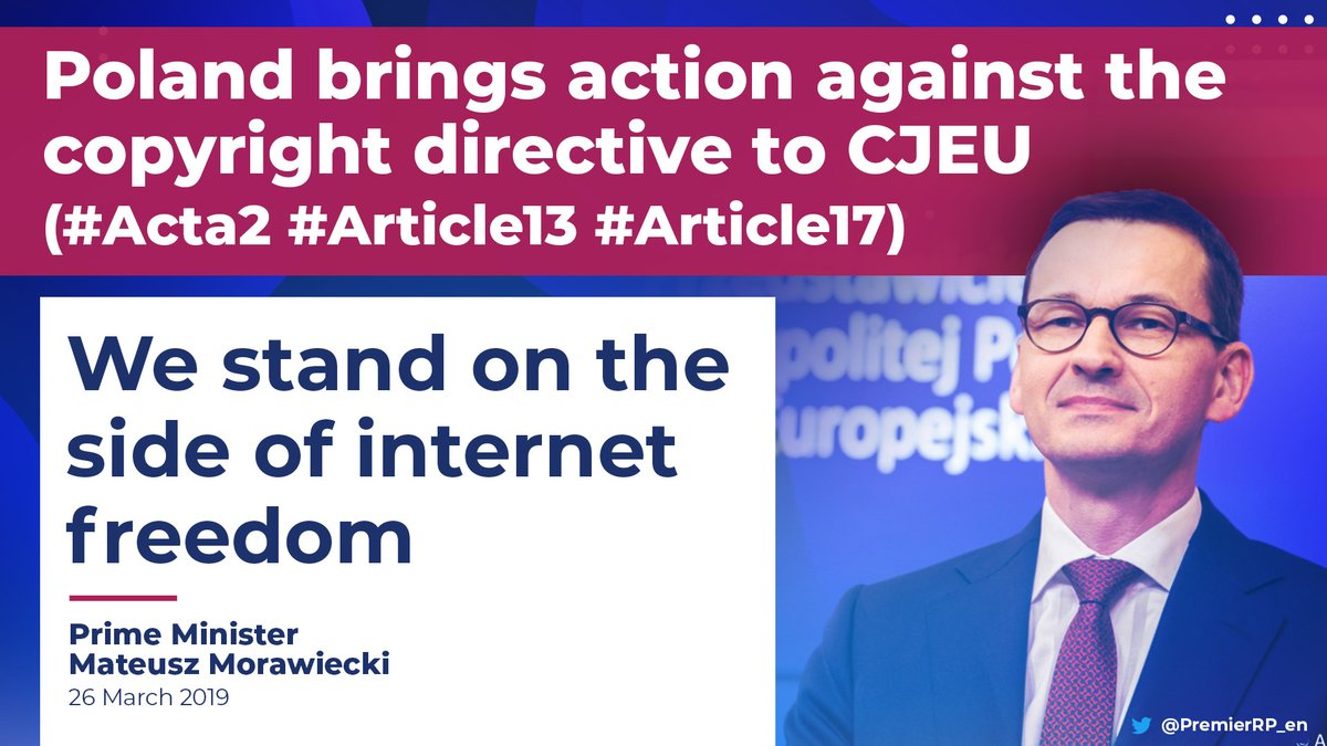 Poland has asked the European Court of Justice to overturn the #CopyrightDirective