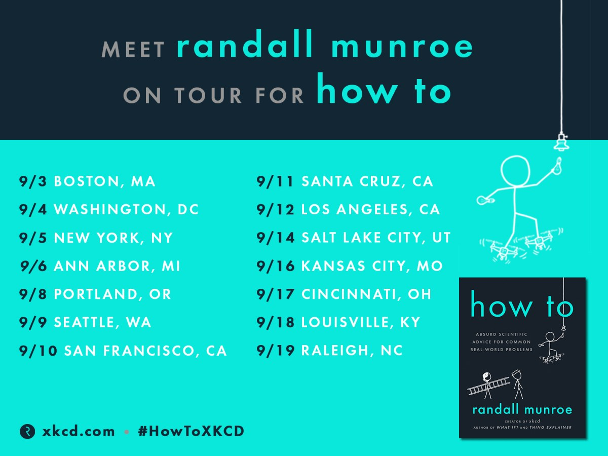 """Announcing: the tour for """"How To: Absurd Scientific Advice for Common Real-World Problems,"""" Randall """"XKCD"""" Munroe's next book"""