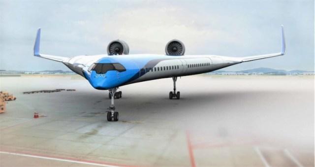 "KLM funds new ""Flying-V"" plane design where passengers sit inside the wings"