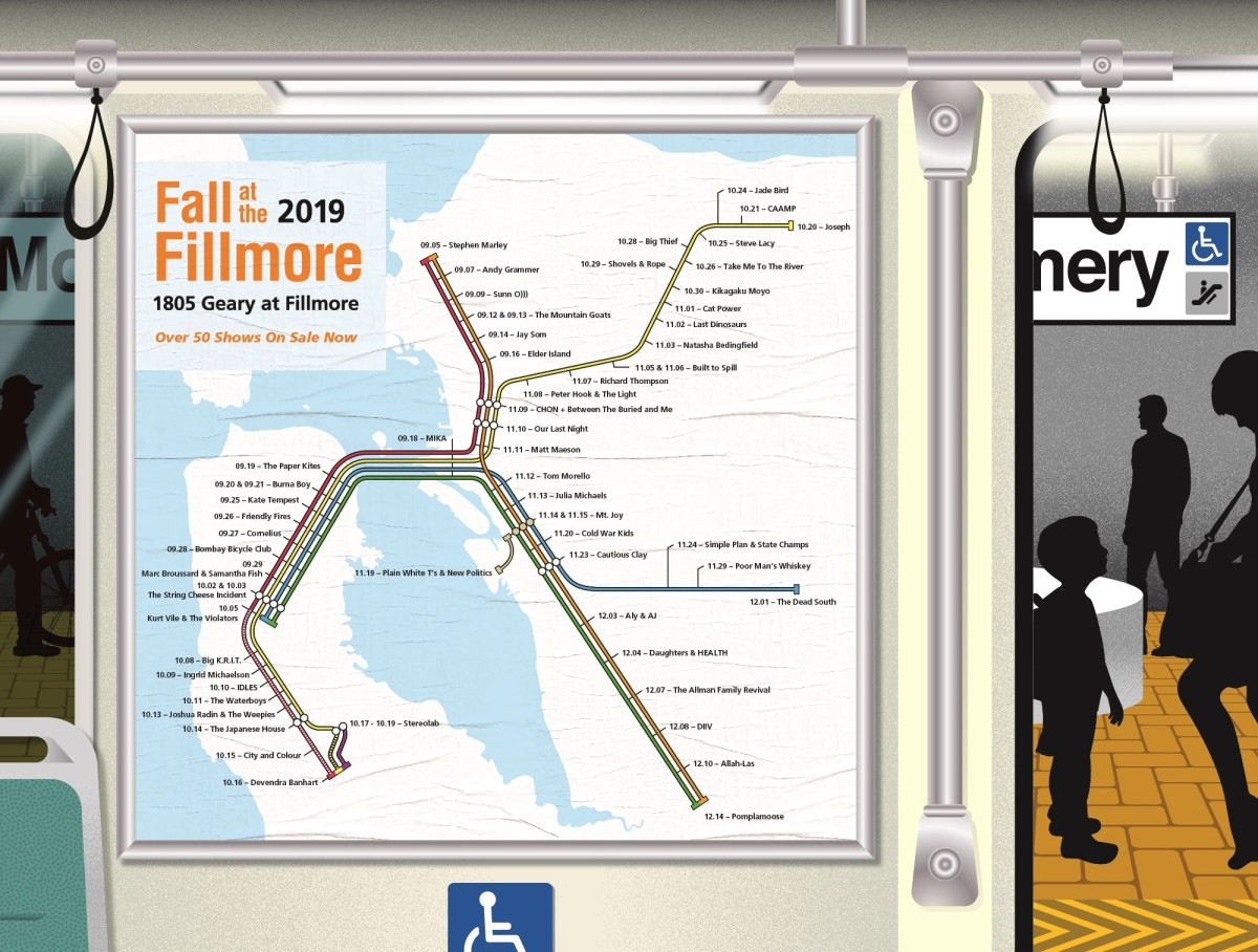 BART map inspires poster of The Fillmore's upcoming shows