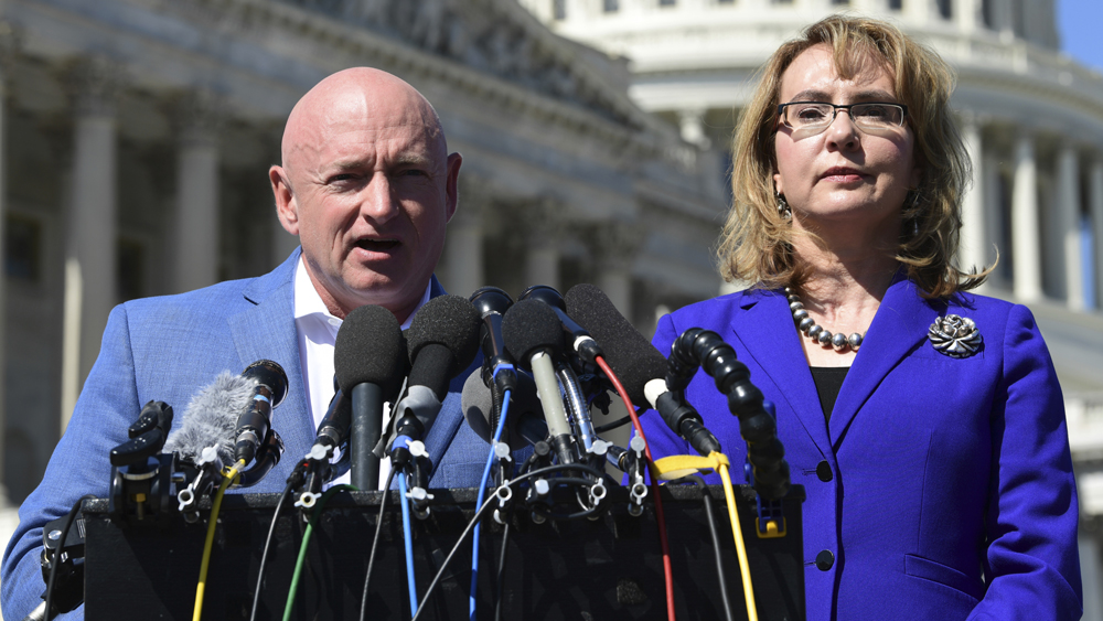 "Arizona GOP: ""We'll stop gun-grabber Mark Kelly dead in his tracks"" (He's married to Gabrielle Giffords, gun massacre survivor)"