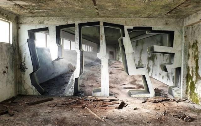 Fantastic graffiti optical illusions by artist Vile